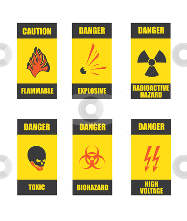 Common danger signs stock vector clipart, Common signs of danger areas or objects, like biohazard, radioactive, electric tension areas or toxic, flammable and explosive substances. by vrcraft