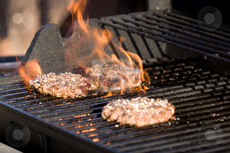 Flaming Hamburgers stock photo, A closeup of some fresh and juicy hamburgers cooking on the grill. by Todd Arena