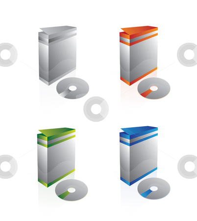 Generic software or product boxes stock vector clipart, Boxes with a CD, for software and not only. by vrcraft