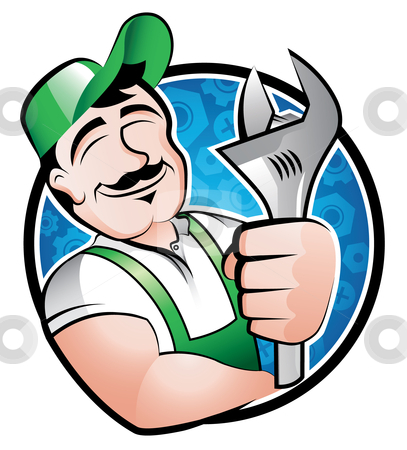 Craftsman stock vector clipart, A cartoony illustration of a man holding a spanner by Thomas Amby Johansen