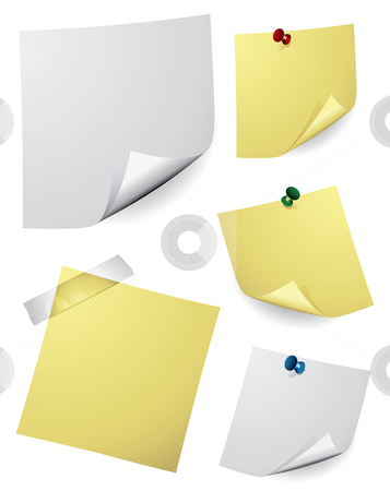 Note Paper stock vector clipart, Various vector note paper for text by Thomas Amby Johansen