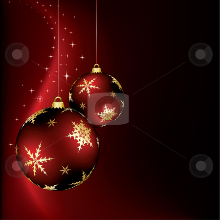 Christmas Design stock vector clipart, A christmas design with two red baubles by Thomas Amby Johansen