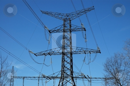 Power Transmission Lines stock photo, Electrical cables and transmission tower by Tim Elliott