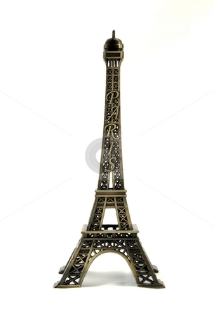 Metal eiffel tower model on white background stock photo, Small metal model with white background by Stanislav Vasko