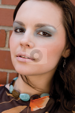 Fashion model - head shot stock photo, Head shot of a twenty something fashion with funky makeup by Yann Poirier