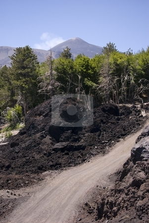 Streets Of Volcano stock photo, The image shows a private street at top of m.te Etna (2500 s.l.m.) uses from cars. by Antonino Sicali