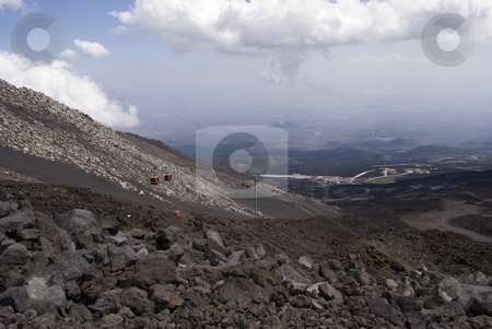 Cableway Of South Etna stock photo, The image shows a view of cableway of m.te Etna by Antonino Sicali