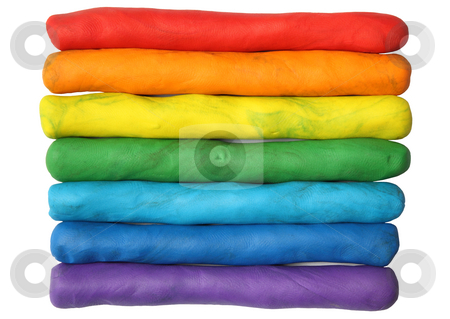 Rainbow colors plasticine play dough modeling clay isolated over white. stock photo, Rainbow colors plasticine play dough modeling clay isolated over white. by Stephen Rees