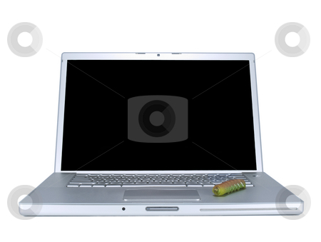 Computer bug stock photo, A caterpillar over a laptop computer. Isolated on white. by Ignacio Gonzalez Prado