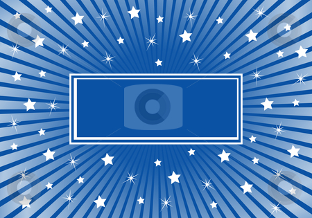 Abstract Background Blue with White Stars stock vector clipart, Blue sunburst background with various white stars giving a celebration feel to the design. Space to add copy text by toots77