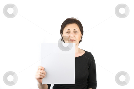 Woman Holding a Blank Sign stock photo, Woman Holding a Blank Sign on an Isolated Background by Mehmet Dilsiz