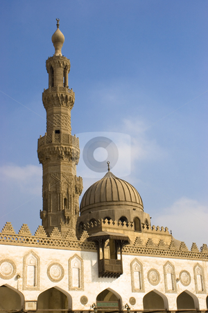Al-Azhar Mosque stock photo, Al-Azhar University in Egypt, founded in 975 AD, is the chief centre of Arabic literature and Islamic learning in the world, and the world's second oldest surviving degree granting university. It is associated with Al-Azhar mosque in Islamic Cairo. The university's mission includes the propagation of Islamic religion and culture. by Amr Hassanein