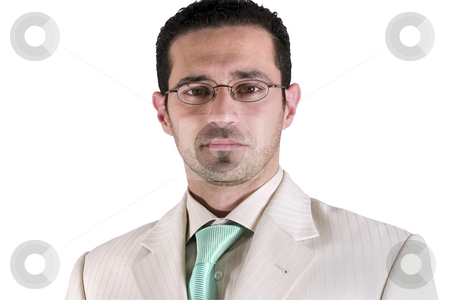 Isolated Businessman Portrait stock photo, Isolated Businessman Portrait in white suit with green tie by Mehmet Dilsiz