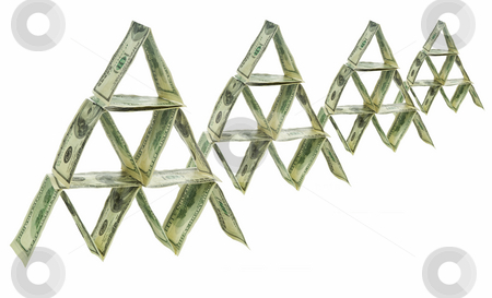 Dollar pyramid stock photo, Four pyramids made out of one hundred dollar bills. by Ignacio Gonzalez Prado