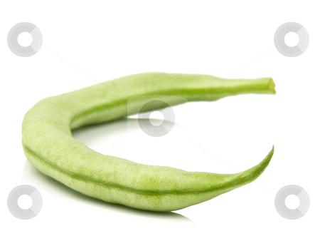 Single Green Bean stock photo, Single green bean on a white background by John Teeter