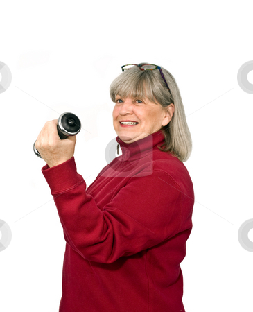 Senior Working Out stock photo, Senior woman working out on a white background by John Teeter
