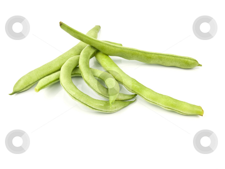 Stack of green beans stock photo, Stack of green beans on a white background by John Teeter