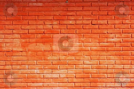Brick wall stock photo, Just a red brick wall all over by Dmitry Rostovtsev