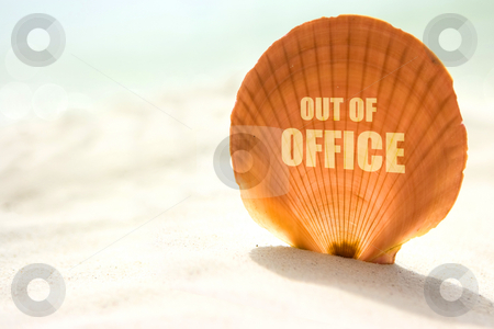 Out of office inscription on shell stock photo, Round shaped sea shell on the sand with out of office inscription on it by Dmitry Rostovtsev
