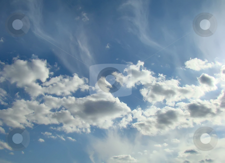 Blue sky and clouds stock photo, Blue sky and white clouds in it by Dmitry Rostovtsev