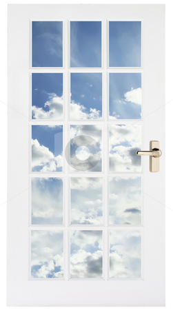 White door with sky behind stock photo, White glass door with golden handle and cloud sky behind it by Dmitry Rostovtsev