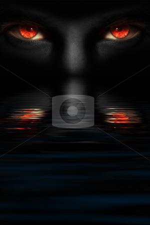 Devil's eyes stock photo, Man with red devil's eyes by Dmitry Rostovtsev