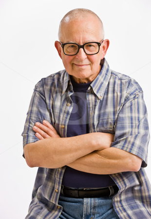 Senior man in eyeglasses with arms crossed stock photo, Senior man in eyeglasses with arms crossed by Jonathan Ross