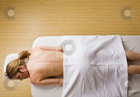 Woman waiting for massage stock photo, Woman waiting for massage by Jonathan Ross