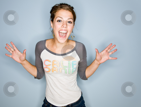 Shouting woman in jeans stock photo, Shouting woman in jeans by Jonathan Ross