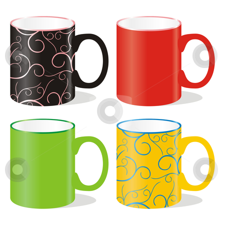 Vector editable isolated colored mugs and dishes stock vector clipart, Vector editable isolated colored mugs and dishes by pilgrim.artworks