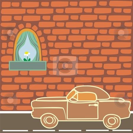 Vector illustration of vintage car near brick wall  stock vector clipart, Vector illustration of vintage car near brick wall by pilgrim.artworks