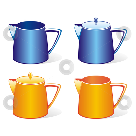 Isolated colored milk and tea jugs set  stock vector clipart, Fully editable vector illustration of isolated colored milk and tea jugs set and sugar bowls by pilgrim.artworks
