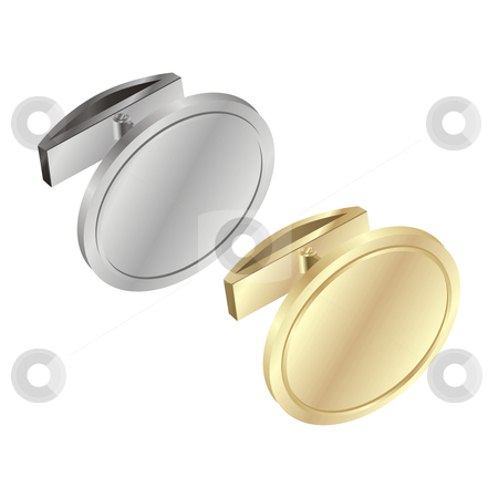 Vector editable gold and silver cuff links  stock vector clipart, Vector editable gold and silver cuff links by pilgrim.artworks
