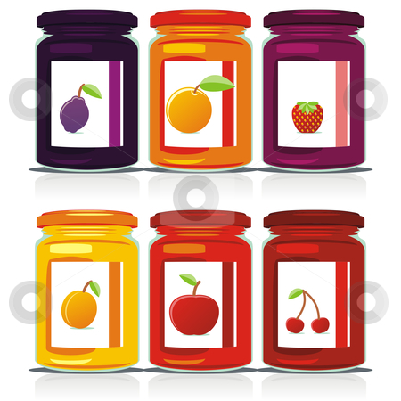 Isolated jam jars set  stock vector clipart, Isolated jam jars set by pilgrim.artworks