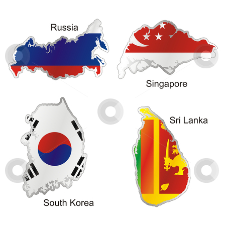 vector editable isolated asian flags in map shape with details  stock vector clipart, vector editable isolated asian flags in map shape with details by pilgrim.artworks