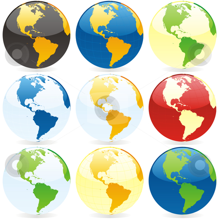 Vector editable colored world map and globes stock vector similar images vector editable colored world map gumiabroncs Image collections