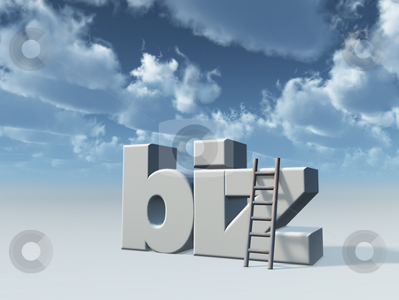 Biz domain stock photo, Biz domain and ladder in front of cloudy sky - 3d illustration by J?