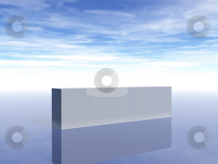 Bar stock photo, Blank white bar in front of blue sky - 3d illustration by J?