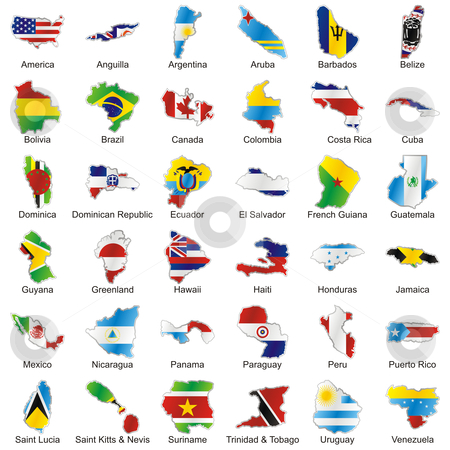Fully editable vector international flags web buttons in map shape stock vector clipart, Fully editable vector world flags web buttons in map shape with official colors and details ready to use by pilgrim.artworks