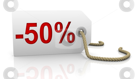 Fifty percent discount stock photo, White tag with fifty percent discount red lettering by Nuno Andre
