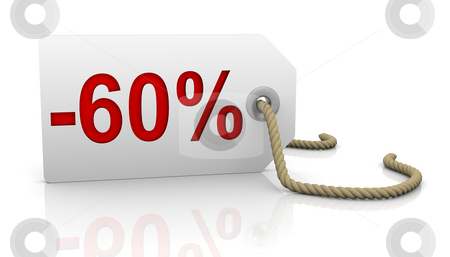 Sixty percent discount stock photo, White tag with sixty percent discount red lettering by Nuno Andre