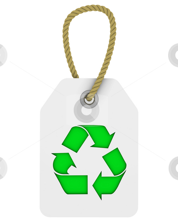 Tag with recycle symbol stock photo, White tag with green recycle symbol by Nuno Andre