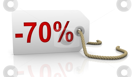 Seventy percent discount stock photo, White tag with seventy percent discount red lettering by Nuno Andre