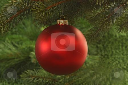 Chrismas ball stock photo, Christmas tree decoration on green background by Birgit Reitz-Hofmann