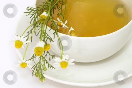 Camomile tea stock photo, Herbal camomile tea on bright background by Birgit Reitz-Hofmann