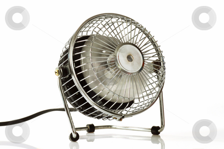 Ventilator stock photo, Electric silver fan  on bright background by Birgit Reitz-Hofmann