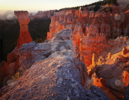 Bryce Canyon National Park Towers at Sunrise, Utah stock photo, Bryce Canyon National Park Towers at Sunrise, UtahGreat for nature, wilderness, adventure, exploration, travel, backcountry and outdoor recreation themes. 16bit / 100mg scans from 4x5 transparency. by Jeff DeMent