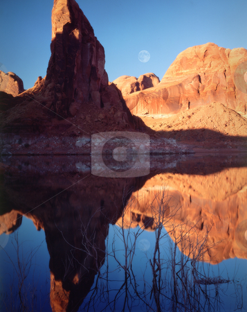 Moonrise, Lake Powell, Page, Arizona stock photo, Moonrise reflections across Lake Powell, Page, Arizona.Great for nature, wilderness, adventure, exploration, travel, backcountry and outdoor recreation themes. by Jeff DeMent