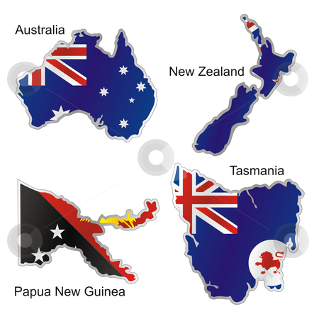 Fully editable vector isolated oceanian flags in map shape  stock vector clipart, Fully editable vector isolated oceanian flags in map shape by pilgrim.artworks