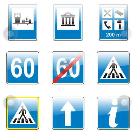 Fully editable vector european traffic signs with details ready to use  stock vector clipart, Fully editable vector european traffic signs with details ready to use by pilgrim.artworks